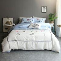 4Pcs Light Luxury Egypt Cotton Bedding Set Embroidery Duvet Cover Set Bed Sheet