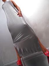 Unique Color Gun Metal Stretch New Year Damen Lange Kleid M29 Top Dress S
