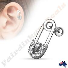Surgical Steel Silver Ion Plated Tragus/Cartilage Stud with CZ Paved Safety Pin