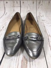Womens COACH RUTHIE Pewter Leather Loafers Shoes Sz. 7.5 US FLAW