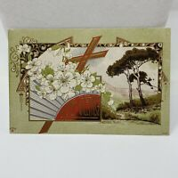 Vintage Easter Greetings Postcard Card Antique Floral