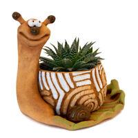 Snail Shaped Brown Ceramic Planter Clay Plants Pot Handmade