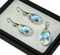 925 Sterling Silver Earrings/Set 22mm Pear Crystal AB Crystals from Swarovski®