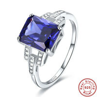Free Jewelry Box Gifts Tanzanite 100% S925 Sterling Silver Ring Size L½ N½ P½ R½