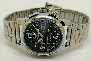 genuine seiko 5 automatic men steel black dial day date 17 jewel watch run order