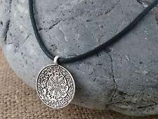 Cordón Negro Plata Tibetano amuleto de calidad meditación symbollic Collar 44cms