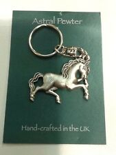 KEYRING ASTRAL PEWTER TROTTING HORSE KEYCHAIN HAND CRAFTED UK FINISH NEW