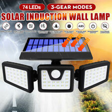 3 Head Solar Motion Sensor Light Outdoor Garden Wall Security Flood Lamp 74LEDs