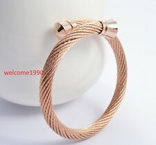14k Rose Gold Stainless Steel Fashion Twisted Cable Wire Cuff Bracelet Bangle