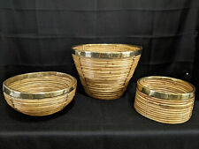 Set Of 3 Vintage Handcrafted Cane Baskets/Bowls With Brass Rims Made In India