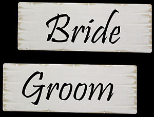 2 Wedding Bride & Groom Wooden Signs - Rustic Shabby Chic, Choice of Colours