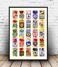 Football teams clubs & colours  cigarette card , poster, Wall art.