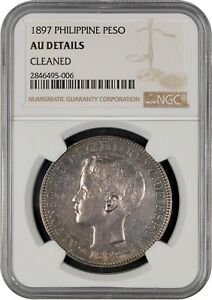 1897 Spanish Philippines 1 Peso Silver Coin NGC AU Details Sharp Strike!
