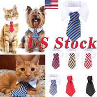 US Lovely Dog Cat Striped Bow Tie Collar Pet Adjustable Neck Tie White Collar