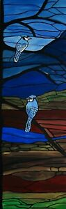 Blue jay painting on 12x36 framed canvas, stained gass themed art, mosaic design
