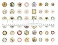 Dollhouse Miniature Shabby Chic Clock Face Stickers Labels 1:12 scale Lot of 48
