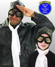 Aviator Kit 3 Piece Black Cloth Helmet White Scarf & Black Plastic Goggles OS