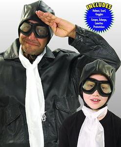 Aviator Kit 3 Piece Black Cloth Helmet White Scarf & Black & Silver Goggles OS
