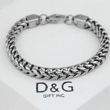"""Dg Men's 8.5"""" Silver Stainless-Steel 5mm Franco Chain Bracelet Unisex.Box"""
