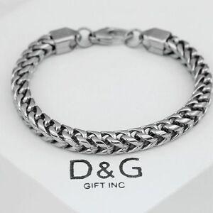 """DG Men's 8.5"""" Silver Stainless Steel 6mm Franco Chain Bracelet Unisex..Box"""