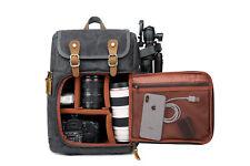 DSLR Camera Canvas Backpack Front Open Large Anti-shock SLR Travel Camera Bag