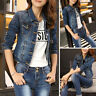 Womens Autumn Long Sleeve Denim Short Jacket Jeans Coat Slim Outwear Tops Blouse