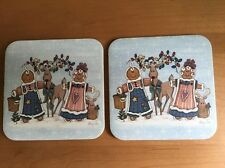 Set of 2 Longaberger Gingerbread & Reindeer Cork Coasters