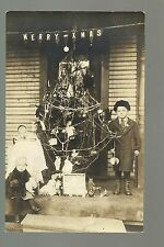 RP c1910 CHRISTMAS TREE Outside Porch Kids TOYS DOLLS Merry XMas Sign NICE!!