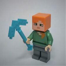 Genuine LEGO Minecraft Alex Minifigure w/ iron legs & diamond pickaxe (21125)