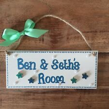 Personalised Childrens Girls/boys Twins Name Door Wall Sign Plaque Blue or Pink