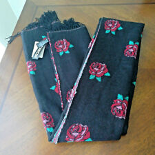 Divided By H&M Womens Winter Floral Scarf Wrap Black Red Green NWT