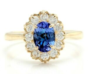 1.50 Carat Natural Tanzanite and Diamonds in 14K Solid Yellow Gold Ring