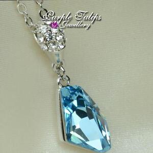 18CT White Gold Plated Light Sapphire Necklace Made With Swarovski Crystal