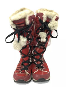 Nike Women's 6 Winter Hi 3 Premium boots red plaid lace up faux fur Pom Pom