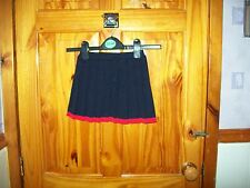 ***LOOK*** NEW M&S NAVY BLUE PLEATED SKIRT RED TRIM 12-18 MTHS***