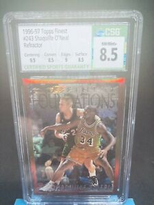 1996-97 Shaquille O'neal Topps Finest Refractor #243 Graded 8.5 Rare
