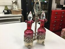 ANTIQUE VICTORIAN ETCHED CRANBERRY GLASS VINAIGRETTE DOUBLE EPNS