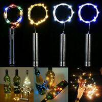 10 20 LED Weinflasche Kork Flaschenlicht Lichterkette Beleuchtung Batterie Deko