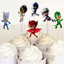 PJ MASKS CUPCAKE CAKE TOPPERS x24 BIRTHDAY PARTY PACK LOLLY LOOT BAG DECORATION