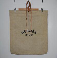 Vintage HERMÈS SELLIER Herringbone Canvas Bag For Equestrian Items - Ex Cond