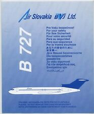 AIR SLOVAKIA BWJ Ltd. airlines B727 Safety Card - sc604