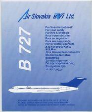 AIR SLOVAKIA BWJ Ltd. airlines B727 Safety Card - sc604