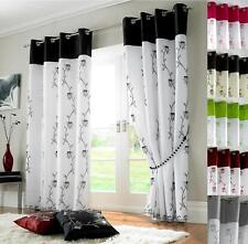 ALICE LINED VOILE RING TOP EYELET CURTAINS ~ Many Colours & Sizes