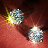925 Silver 6MM Brilliant Cut Round Stud Earring Made With Swarovski Crystal XE7