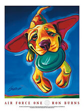 DOG ART PRINT - Air Force One by Ron Burns 24x18 Flying Puppy Frisbee Poster