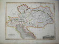1819 MAP OF AUSTRIA BY JAMES WYLD & ENGRAVED BY HEWITT  ORIGINAL HAND COLOURED