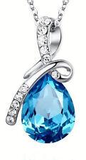 18K White GP Teardrop pendant Necklace with Swarovski Element Crystals