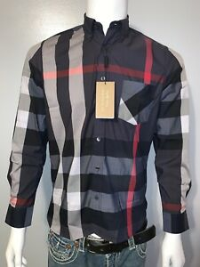 Burberry brit men's navy long sleeve button down exploded check shirt s,m,l,xl