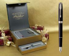 Parker Sonnet Fountain Pen - Black Lacquer Chrome Trim Gift Set