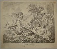 Stampa gravure altalena balancoire Boucher incisione engraving gravure putti